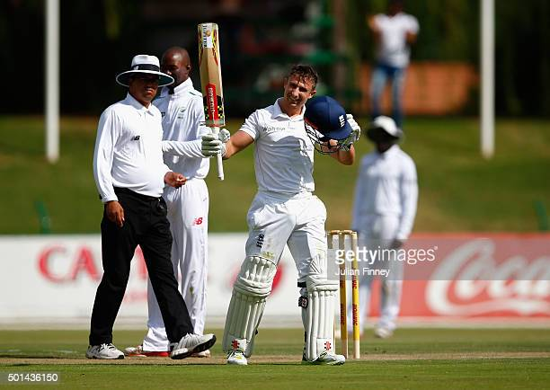 James Taylor of England celebrates his century score during day one of the tour match between South Africa Invitational XI and England at Senwes Park...