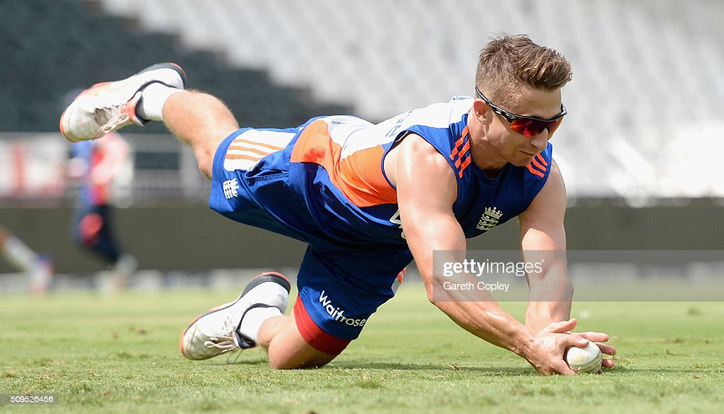 <a gi-track='captionPersonalityLinkClicked' href=/galleries/search?phrase=James+Taylor+-+Cricketer&family=editorial&specificpeople=7622826 ng-click='$event.stopPropagation()'>James Taylor</a> of England fields the ball during a nets session at Bidvest Stadium on February 11, 2016 in Johannesburg, South Africa.