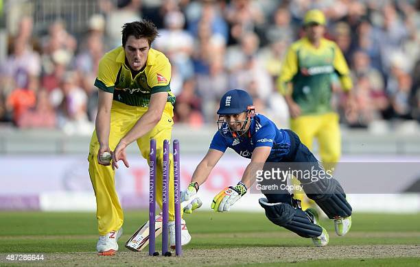 James Taylor of England makes his ground to bring up his century underpressure as Pat Cummins of Australia looks to run him out during the 3rd Royal...