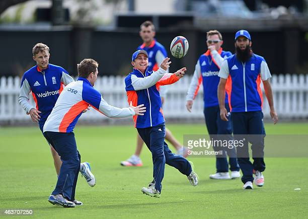 James Taylor of England passes the ball in a game of touch rugby during an England nets session at Basin Reserve on February 18 2015 in Wellington...