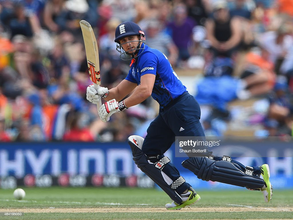 James Taylor of England plays a shot during the 2015 ICC Cricket World Cup match between England and Scotland at Hagley Oval on February 23 2015 in...