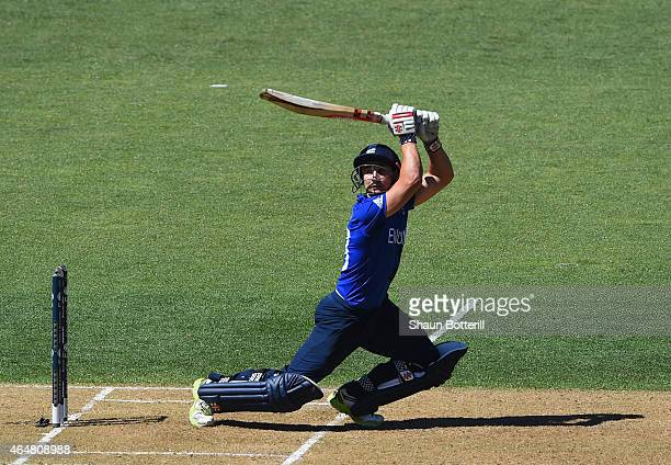 James Taylor of England plays a shot during the 2015 ICC Cricket World Cup match between England and Sri Lanka at Wellington Regional Stadium on...