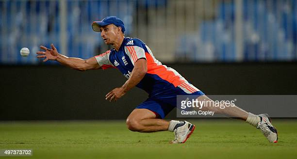 James Taylor of England takes part in a fielding drill during a nets session at Sharjah Cricket Stadium on November 16 2015 in Sharjah United Arab...