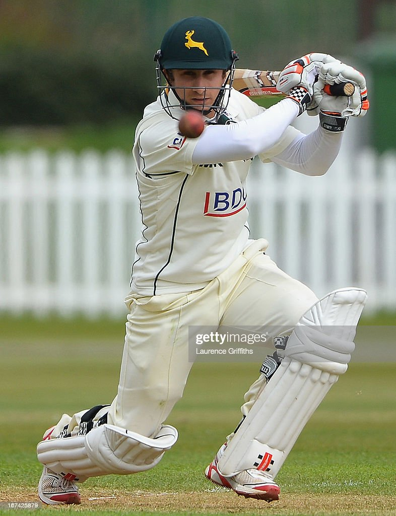 James Taylor of Nottinghamshire hits out to the boundary during day two of the LV County Championship division one match between Derbyshire and Nottinghamshire at The County Ground on April 25, 2013 in Derby, England.