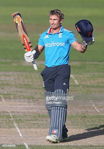 James Taylor of the England Lions celebrates after scoring a century during the Triangular Series match between England Lions and Sri Lanka A at New...