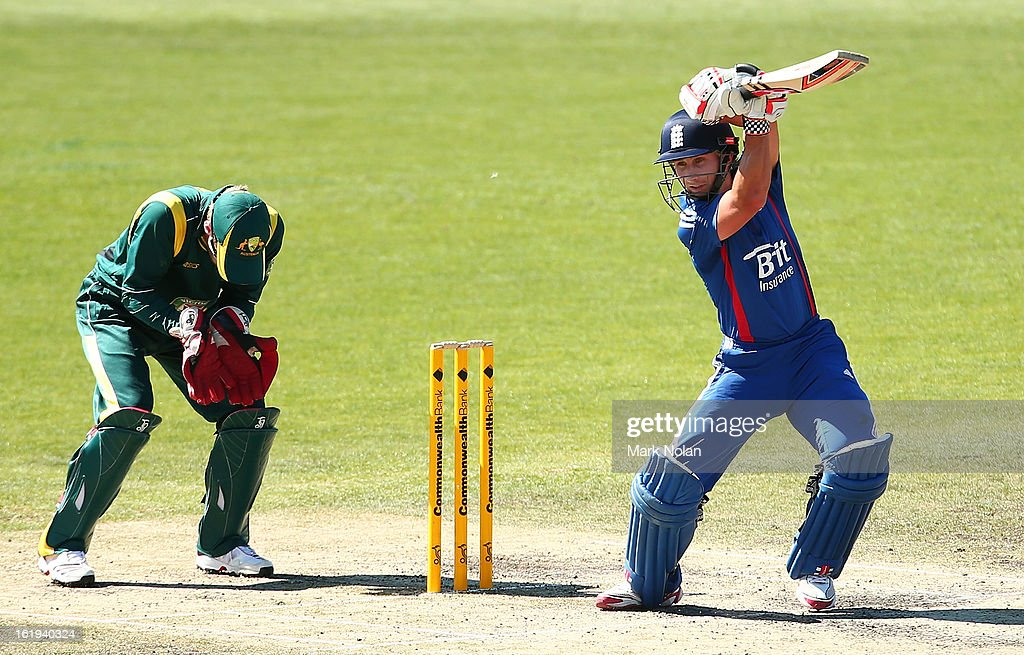 James Taylor of the Lions bats during the international tour match between Australia 'A' and England at Blundstone Arena on February 18, 2013 in Hobart, Australia.