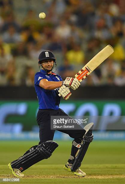 James Taylor plays a shot during the 2015 ICC Cricket World Cup match between England and Australia at Melbourne Cricket Ground on February 14 2015...