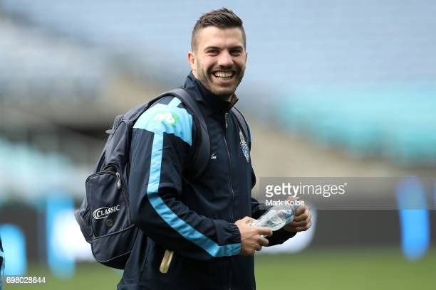 James Tedesco laughs as he arrives during a New South Wales Blues State of Origin captain's run at ANZ Stadium on June 20 2017 in Sydney Australia