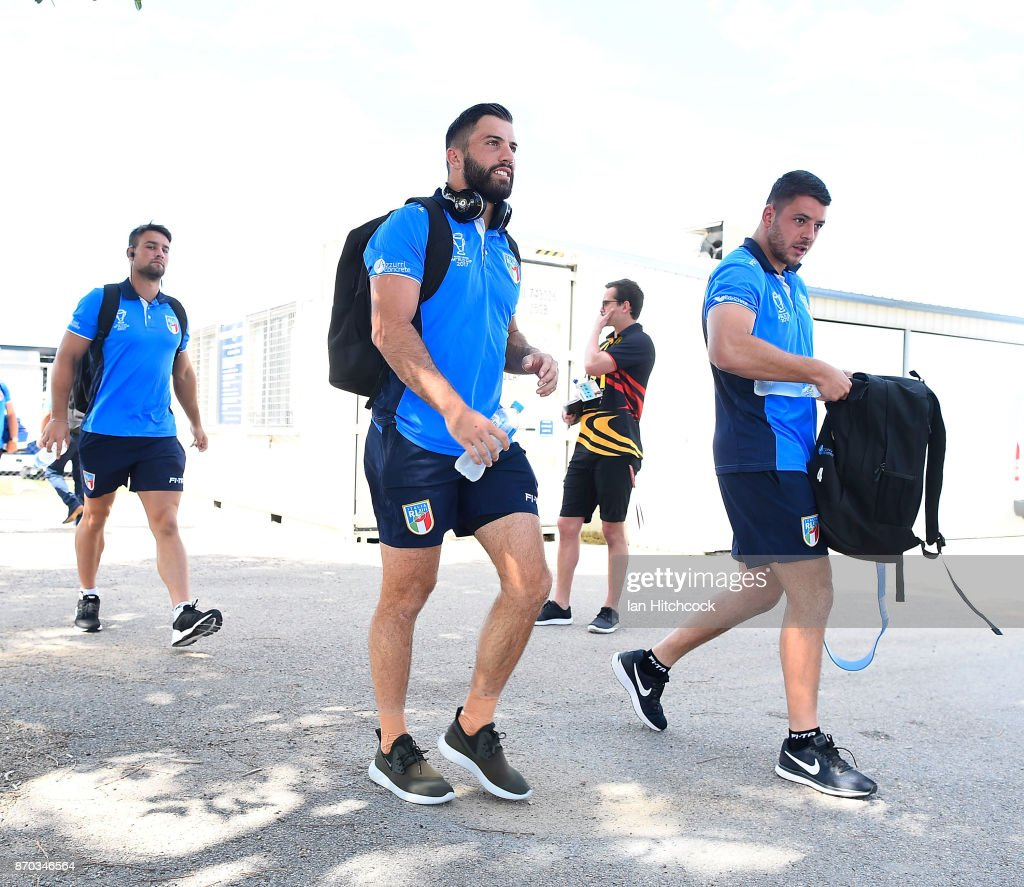 James Tedesco of Italy walks from the bus to the dressing room before the start of the 2017 Rugby League World Cup match between Italy and the USA at 1300SMILES Stadium on November 5, 2017 in Townsville, Australia.