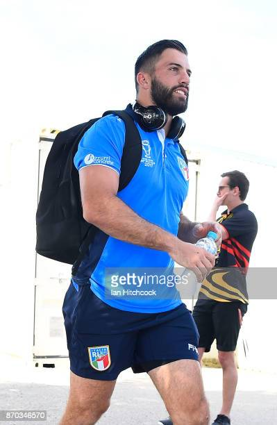 James Tedesco of Italy walks from the bus to the dressing room before the start of the 2017 Rugby League World Cup match between Italy and the USA at...