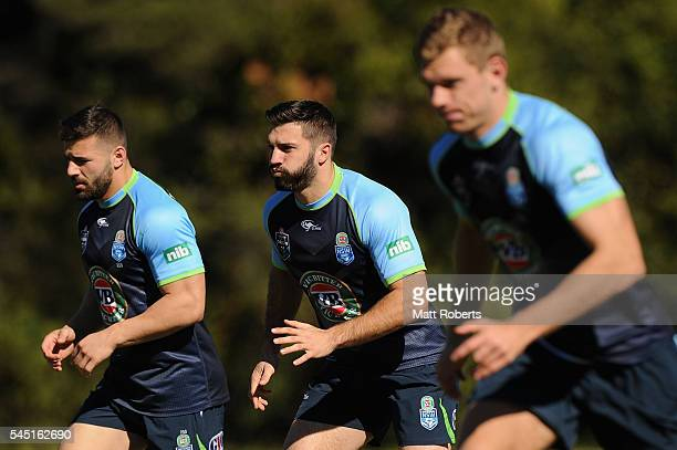 James Tedesco of the Blues runs during the New South Wales Blues State of Origin training session on July 6 2016 in Coffs Harbour Australia
