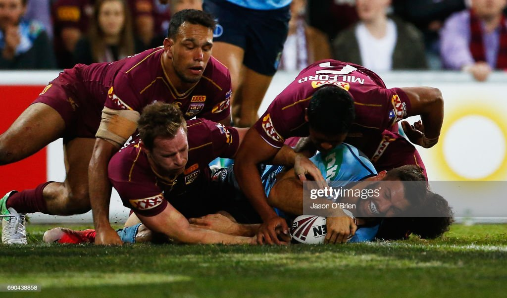 James Tedesco of the Blues scores a try during game one of the State Of Origin series between the Queensland Maroons and the New South Wales Blues at Suncorp Stadium on May 31, 2017 in Brisbane, Australia.