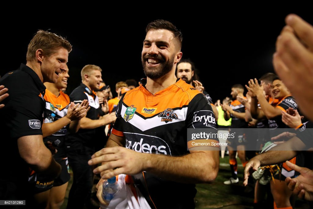 James Tedesco of the Tigers is applauded off the field after playing his final game for the Tigers during the round 26 NRL match between the Wests Tigers and the New Zealand Warriors at Leichhardt Oval on September 3, 2017 in Sydney, Australia.
