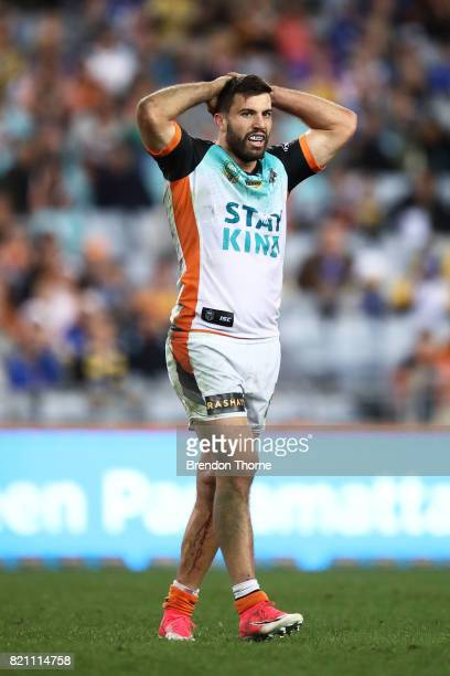James Tedesco of the Tigers looks on during the round 20 NRL match between the Wests Tigers and the Parramatta Eels at ANZ Stadium on July 23 2017 in...
