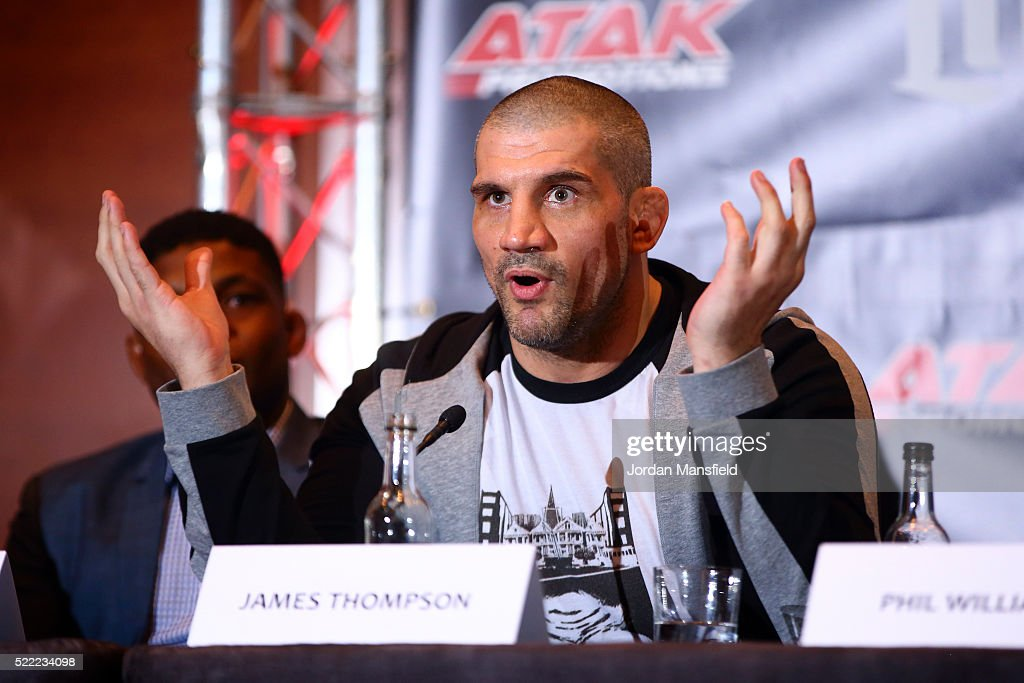 James Thompson speaks during the Bellator 158 MMA Press Conference at the Four Seasons Hotel on April 18, 2016 in London, England.