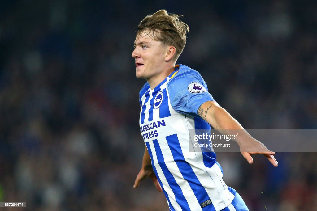 James Tilley of Brighton and Hove Albion celebrates scoring his sides first goal during the Carabao Cup Second Round match between Brighton & Hove Albion and Barnet at Amex Stadium on August 22, 2017 in Brighton, England.
