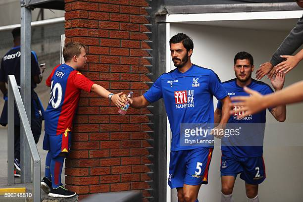 James Tomkins of Crystal Palace and Joel Ward of Crystal Palace high five fans while they ccome out of the tunnel during the Premier League match...