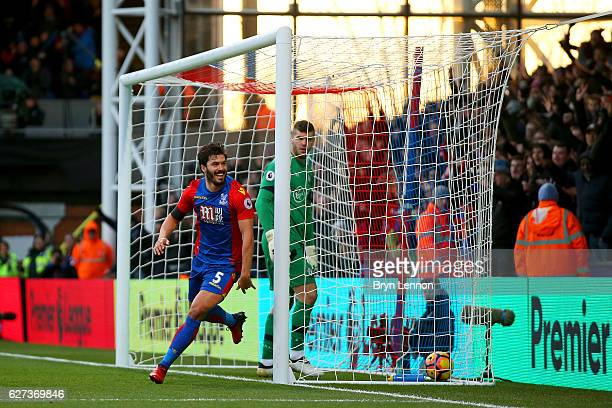 James Tomkins of Crystal Palace celebrates scoring his team's second goal during the Premier League match between Crystal Palace and Southampton at...