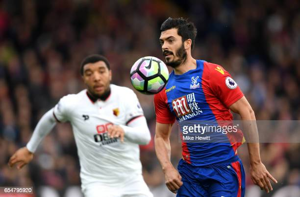 James Tomkins of Crystal Palace controls the ball during the Premier League match between Crystal Palace and Watford at Selhurst Park on March 18...