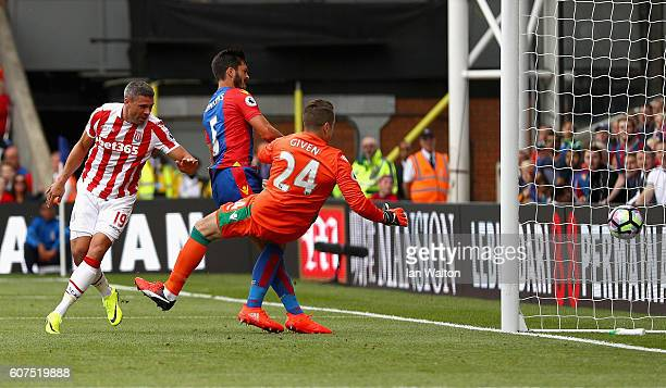 James Tomkins of Crystal Palace scores his sides first goal during the Premier League match between Crystal Palace and Stoke City at Selhurst Park on...