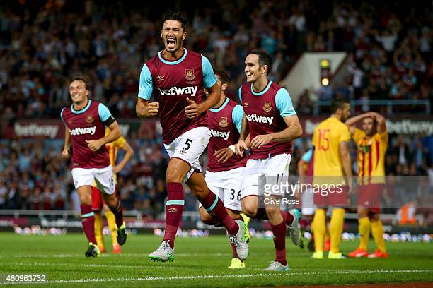 James Tomkins of West Ham celebrates after his goal during the UEFA Europa League second qualifying round match between West Ham and FC Birkirkara at...