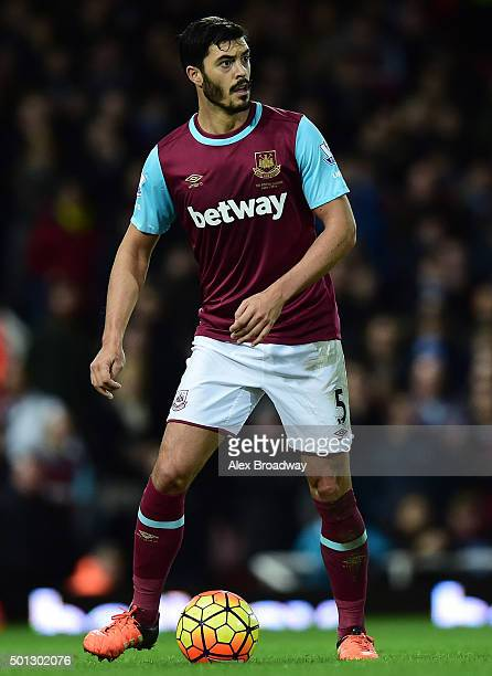James Tomkins of West Ham in action during the Barclays Premier League match between West Ham United and Stoke City at the Boleyn Ground on December...
