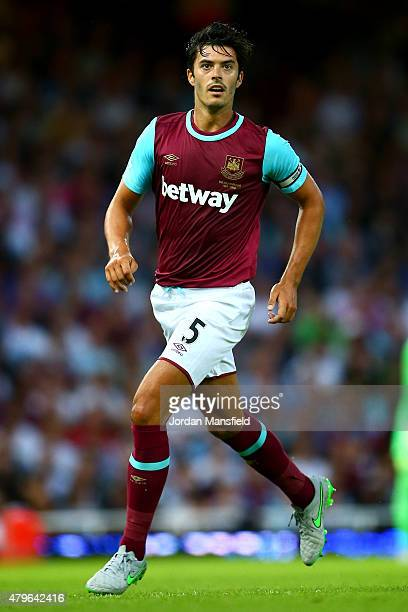 James Tomkins of West Ham in action during the UEFA Europa League match between West Ham United and FC Lusitans at Boleyn Ground on July 2 2015 in...
