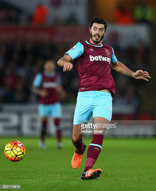 James Tomkins of West Ham United during the Barclays Premier League match between Swansea City and West Ham United at The Liberty Stadium on December...