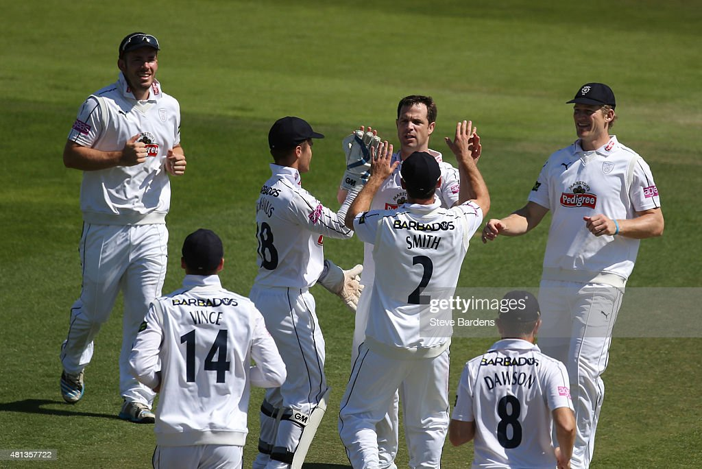 James Tomlinson of Hampshire celebrates taking the wicket of Graham Clark of Durham with his team mates during the LV County Championship match...