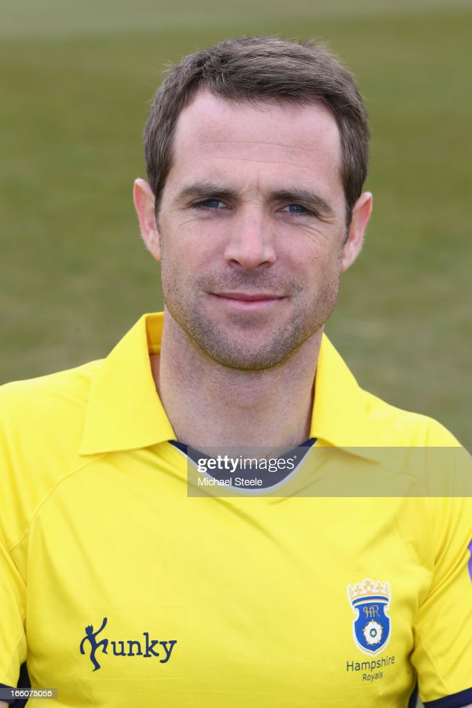 James Tomlinson of Hampshire wearing the Yorkshire Bank 40 Over kit during the Hampshire CCC photocall at The Ageus Bowl on April 8, 2013 in Southampton, England.