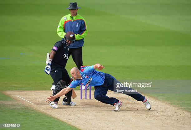 James Treadwell of Kent dives to stop the ball during the Royal London OneDay Cup Quarter Final match between Surrey and Kent at The Kia Oval on...