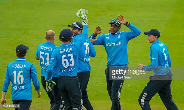 James Tredwell of England celebrates taking the wicket of Kumar Sangakkara of Sri Lanka during the England v Sri Lanka fifth one day international...