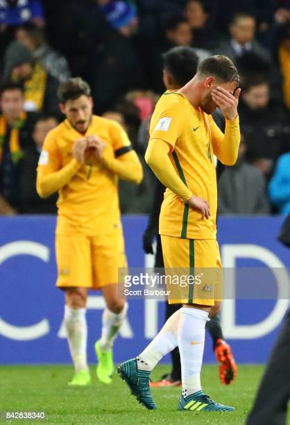 James Troisi and the Socceroos react at full time during the 2018 FIFA World Cup Qualifier match between the Australian Socceroos and Thailand at...