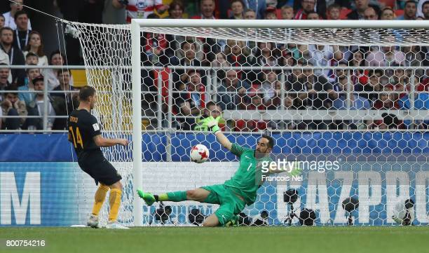 James Troisi of Australi scores his sides first goal Claudio Brav of Chile during the FIFA Confederations Cup Russia 2017 Group B match between Chile...