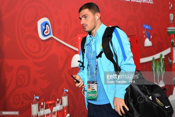 James Troisi of Australia arrives at the stadium prior to the FIFA Confederations Cup Russia 2017 Group B match between Cameroon and Australia at...