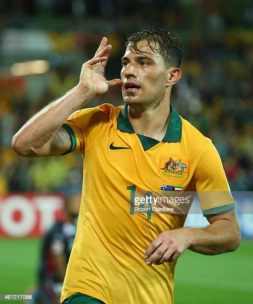 James Troisi of Australia celebrates after he scored a goal during the 2015 Asian Cup match between the Australian Socceroos and Kuwait at AAMI Park...