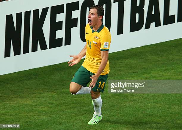 James Troisi of Australia celebrates after scoring a goal in extra time during the 2015 Asian Cup final match between Korea Republic and the...