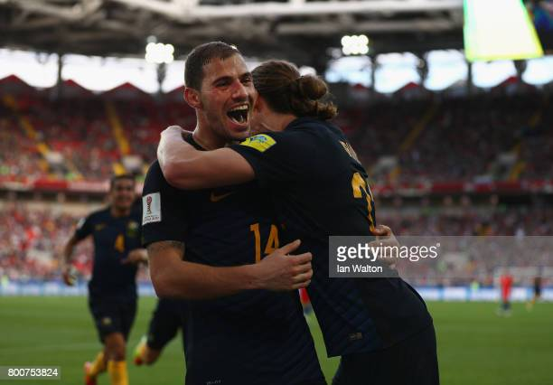 James Troisi of Australia celebrates scoring his sides first goal with Jackson Irvine of Australia during the FIFA Confederations Cup Russia 2017...