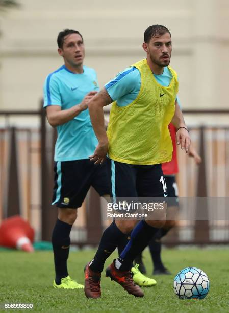 James Troisi of Australia controls the ball during an Australia Socceroos training session at Hang Tuah Stadium on October 3 2017 in Malacca Malaysia