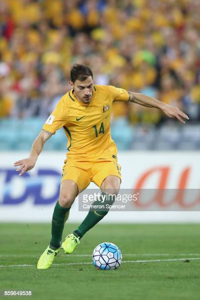 James Troisi of Australia dribbles the ball during the 2018 FIFA World Cup Asian Playoff match between the Australian Socceroos and Syria at ANZ...