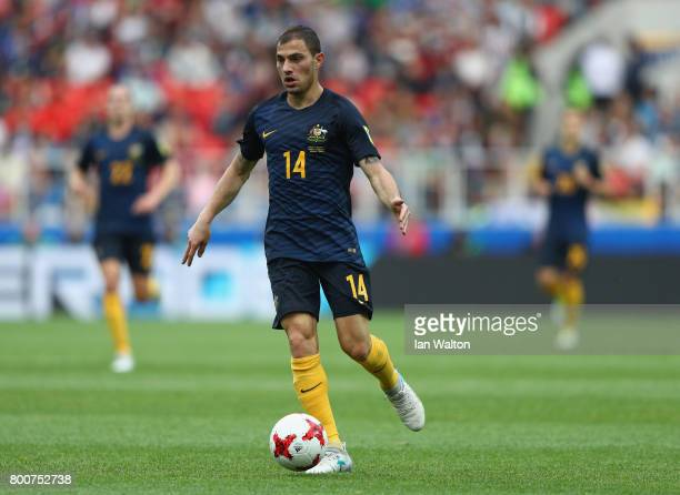 James Troisi of Australia in action during the FIFA Confederations Cup Russia 2017 Group B match between Chile and Australia at Spartak Stadium on...