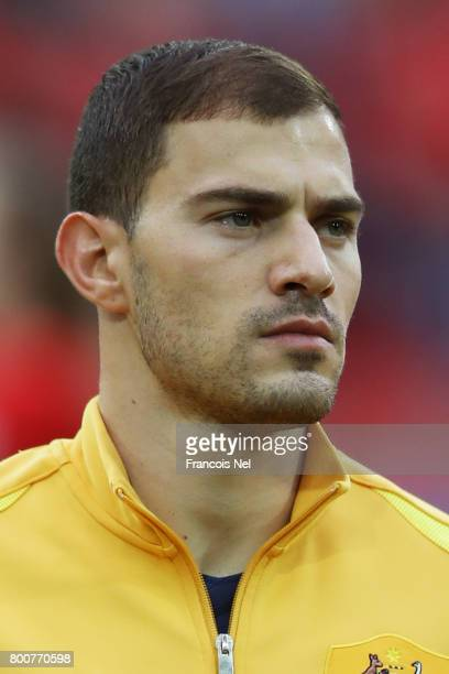 James Troisi of Australia lines up prior to the FIFA Confederations Cup Russia 2017 Group B match between Chile and Australia at Spartak Stadium on...