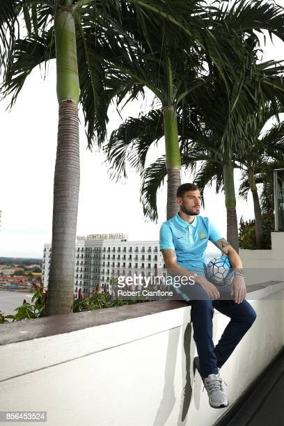 James Troisi of Australia poses during an Australia Socceroos media opportunity on October 2 2017 in Malacca Malaysia