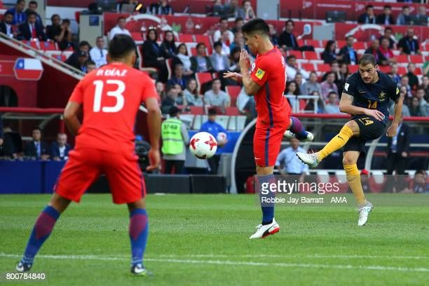 James Troisi of Australia shoots at goal during the FIFA Confederations Cup Russia 2017 Group B match between Chile and Australia at Spartak Stadium...