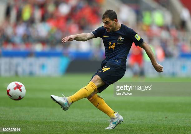 James Troisi of Australia shoots during the FIFA Confederations Cup Russia 2017 Group B match between Chile and Australia at Spartak Stadium on June...