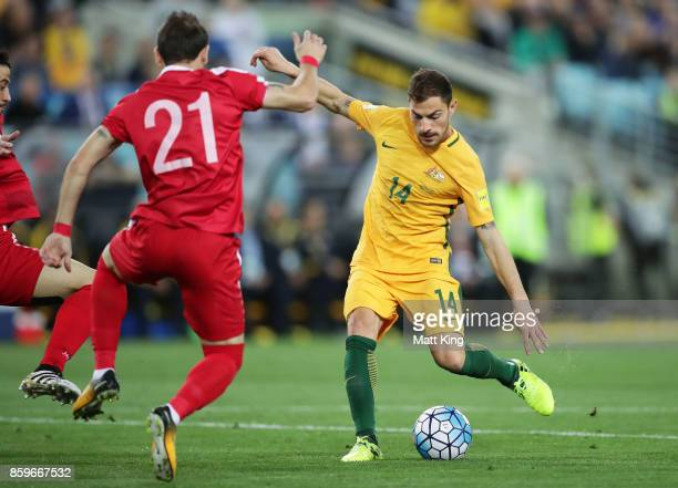 James Troisi of Australia takes a shot on goal during the 2018 FIFA World Cup Asian Playoff match between the Australian Socceroos and Syria at ANZ...