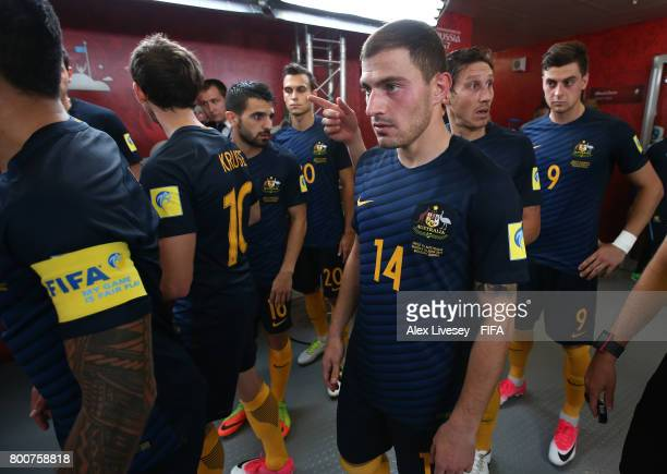 James Troisi of Australia waits in the tunnel prior to the FIFA Confederations Cup Russia 2017 Group B match between Chile and Australia at Spartak...