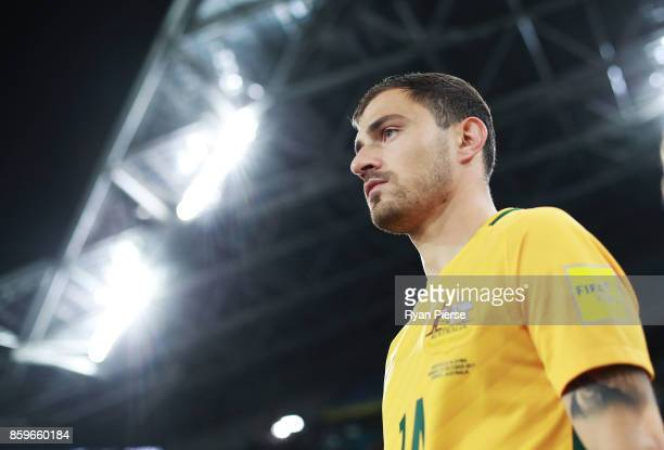 James Troisi of Australia walks out onto the pitch during the 2018 FIFA World Cup Asian Playoff match between the Australian Socceroos and Syria at...