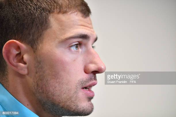 James Troisi of Autralia talks with the media after the FIFA Confederation Cup Group B match between Cameroon and Australia at Saint Petersburg...
