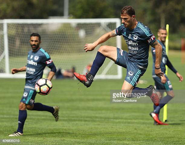 James Troisi of Melbourne Victory controls the ball during a Melbourne Victory ALeague training session at Gosch's Paddock on December 1 2016 in...